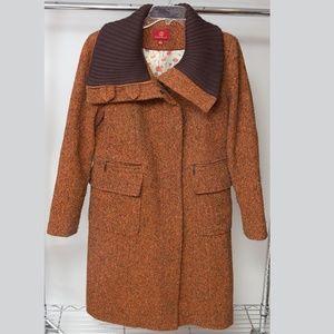 Cole Haan Orange Pea Coat with Collar